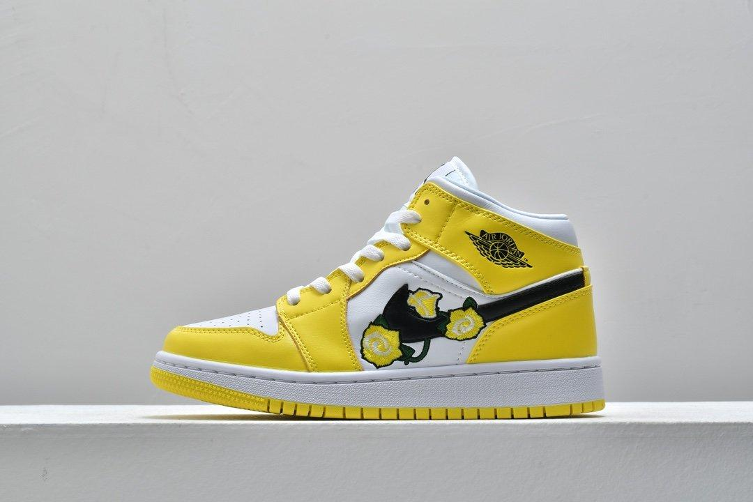 Air Jordan 1 Mid SE GS Rose Patch Dynamic Yellow 1