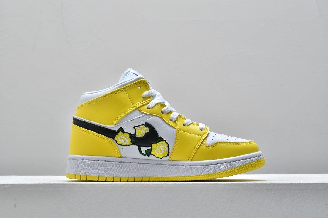 Air Jordan 1 Mid SE GS Rose Patch Dynamic Yellow 2