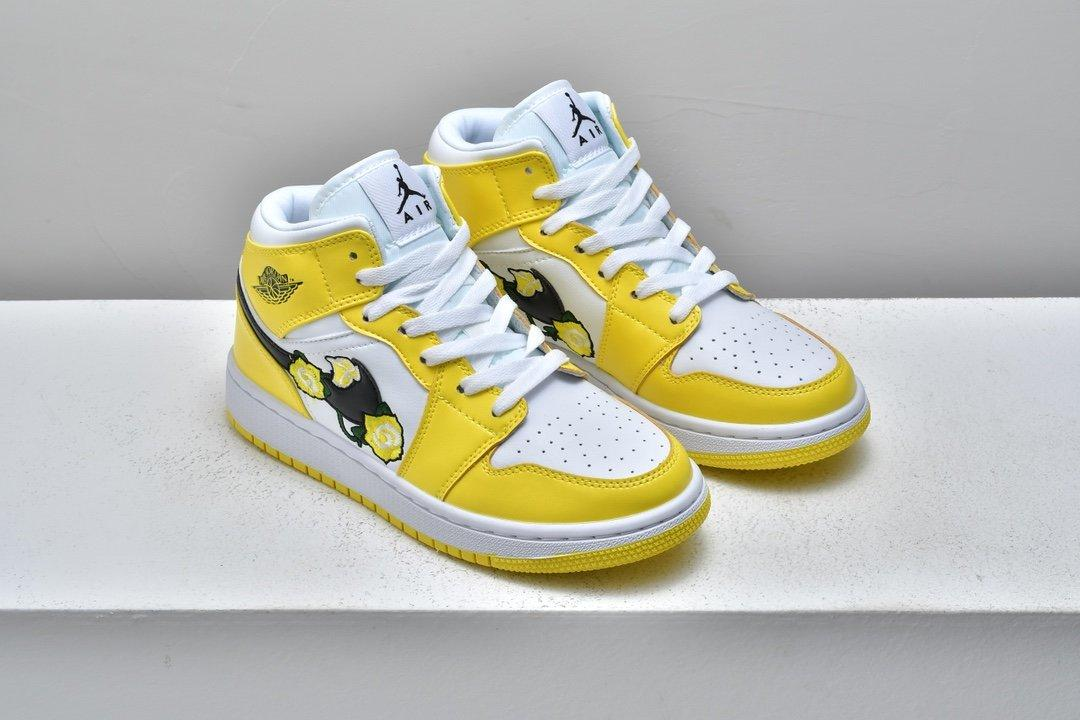 Air Jordan 1 Mid SE GS Rose Patch Dynamic Yellow 6