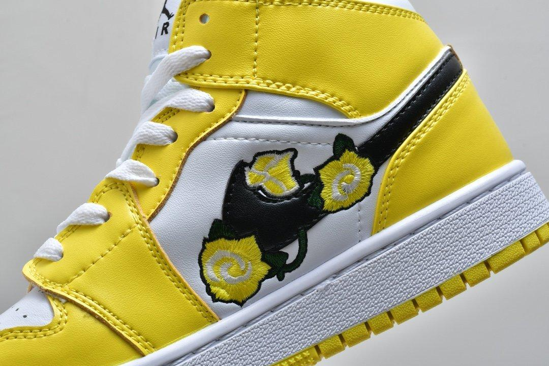Air Jordan 1 Mid SE GS Rose Patch Dynamic Yellow 9