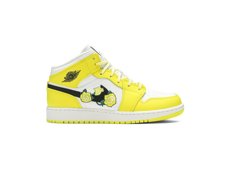 Air Jordan 1 Mid SE GS Rose Patch Dynamic Yellow