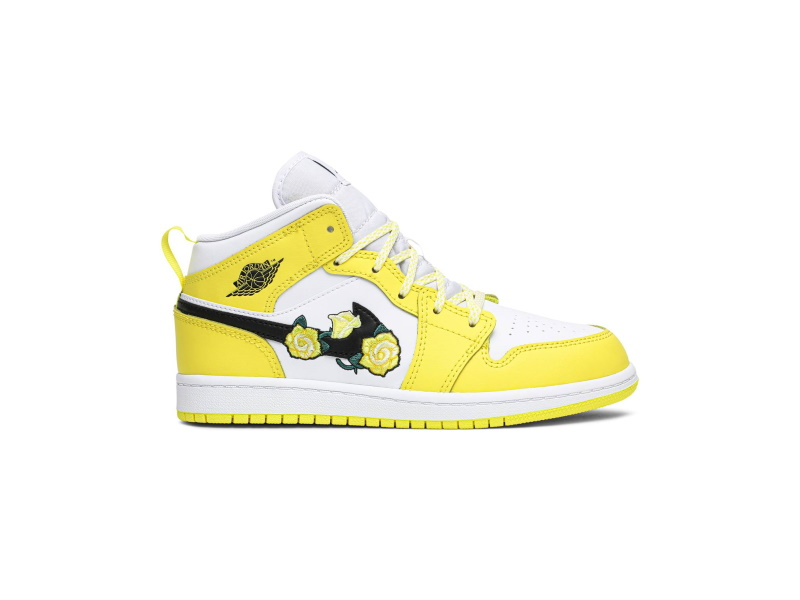 Air Jordan 1 Mid SE PS Rose Patch Dynamic Yellow