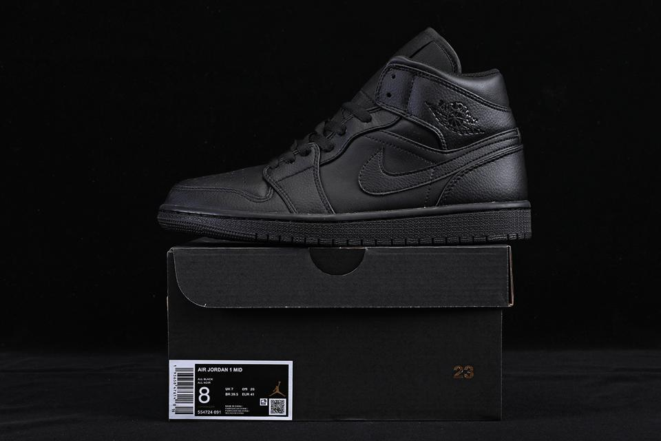 Air Jordan 1 Mid Triple Black 1