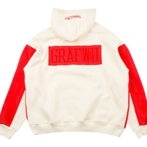 GRAFWU x Mitchell Ness Cream Red Hoodie 1