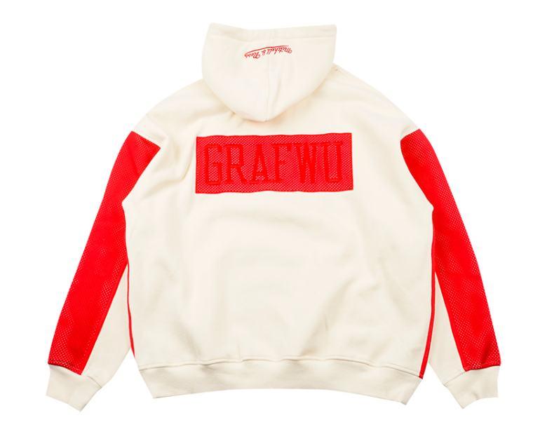 GRAFWU x Mitchell Ness Cream Red Hoodie 1