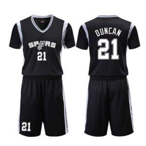 San Antonio Spurs Black 21 Duncan Uniform