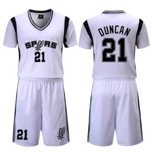 San Antonio Spurs White 21 Duncan Uniform