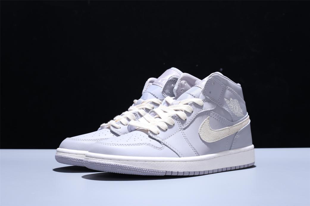 Wmns Air Jordan 1 Mid Grey Light Bone 1