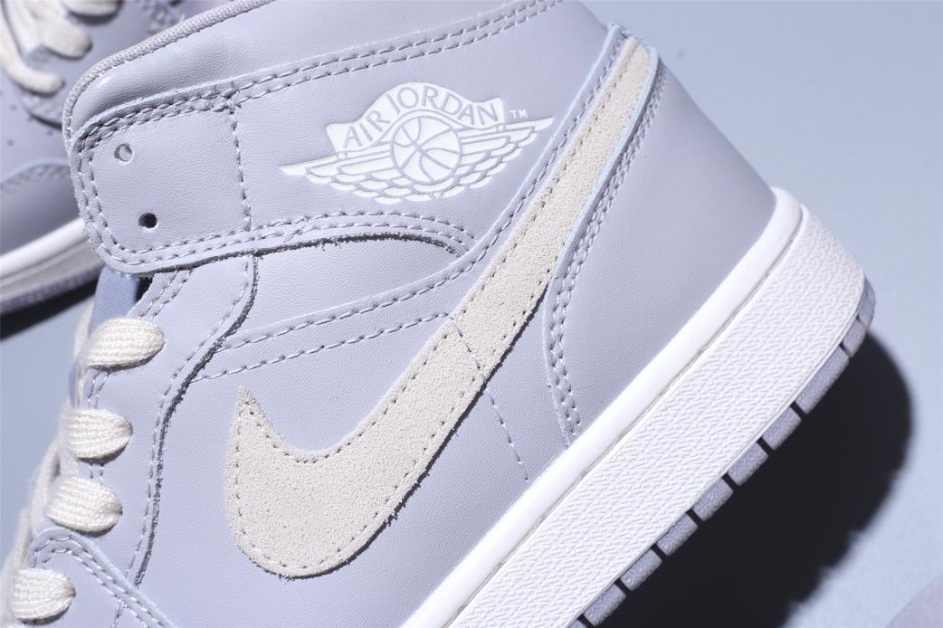 Wmns Air Jordan 1 Mid Grey Light Bone 12