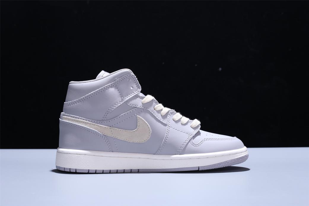 Wmns Air Jordan 1 Mid Grey Light Bone 5