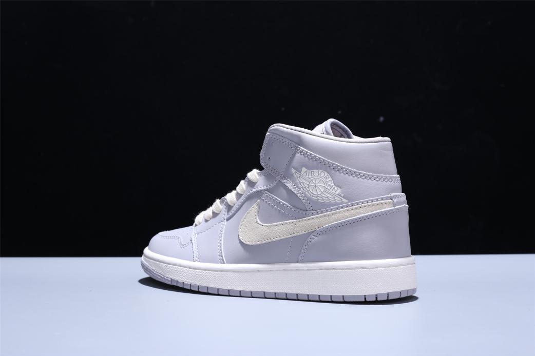 Wmns Air Jordan 1 Mid Grey Light Bone 6