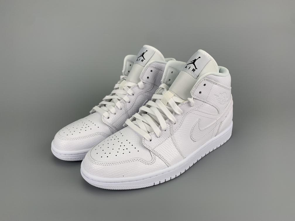 Wmns Air Jordan 1 Mid White Snakeskin 5