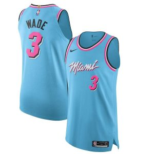 2019 20 Dwyane Wade Miami Heat Nike Authentic Jersey Blue City Edition