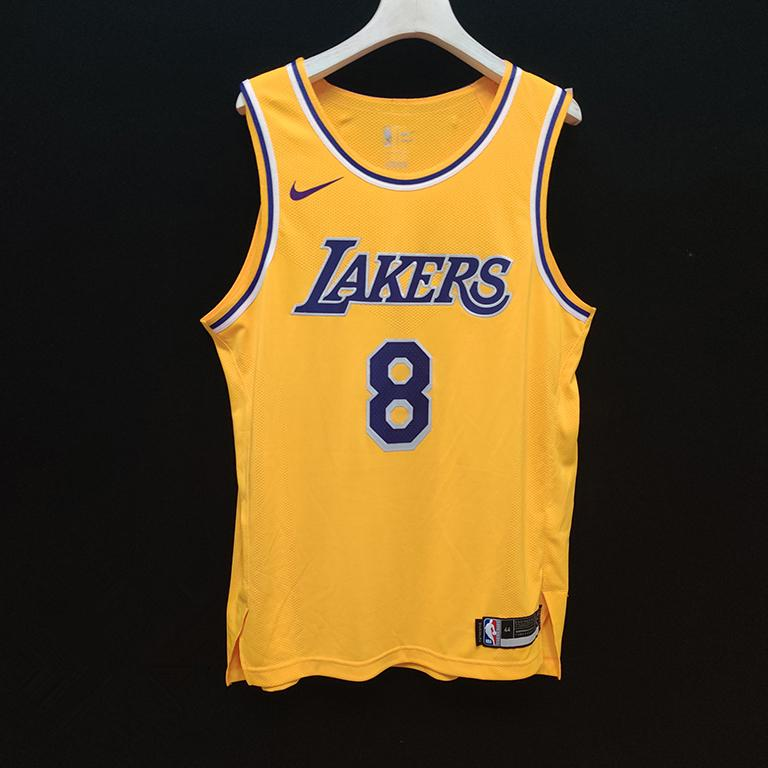 2019 20 Los Angeles Lakers Nike Custom Authentic Jersey Yellow Icon Edition 3