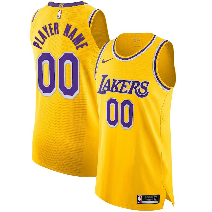 2019 20 Los Angeles Lakers Nike Custom Authentic Jersey Yellow Icon Edition