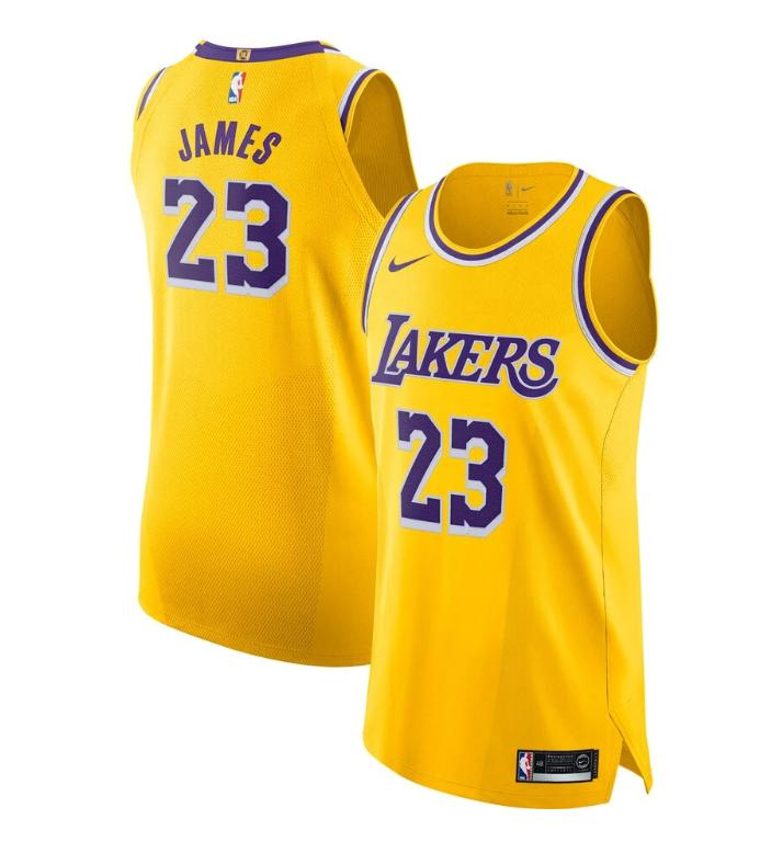 2019 20 Nike LeBron James Lakers Gold Authentic Jersey Icon Edition