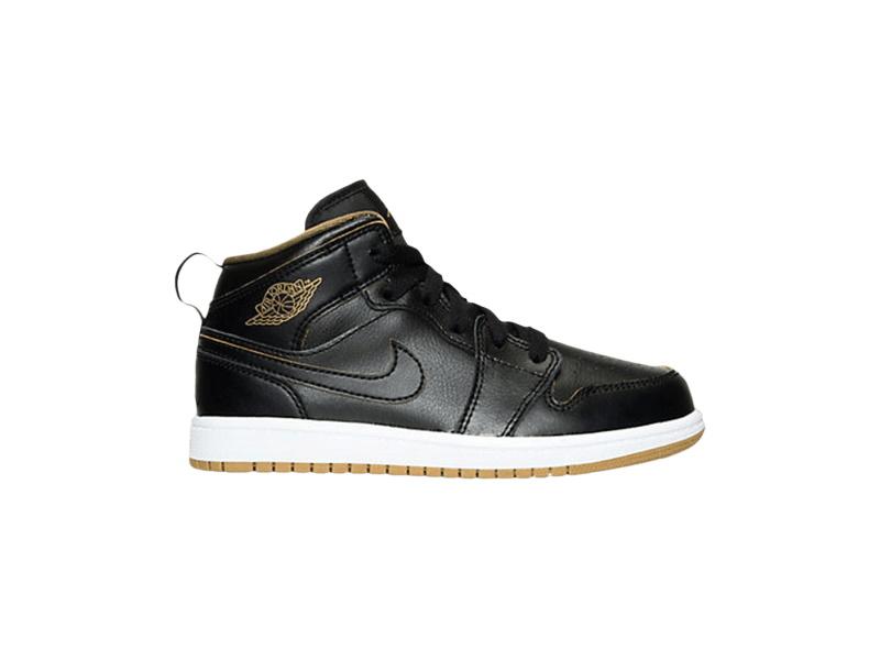 Air Jordan 1 Mid BP Black Metallic Gold