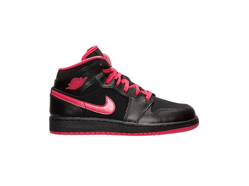 Air Jordan 1 Mid GS Black Fusion Red