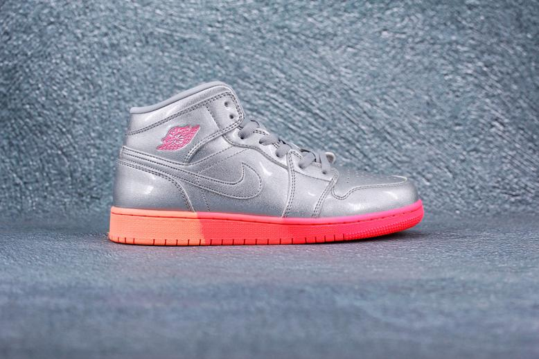 Air Jordan 1 Mid GS Metallic Silver Pink Crimson 7