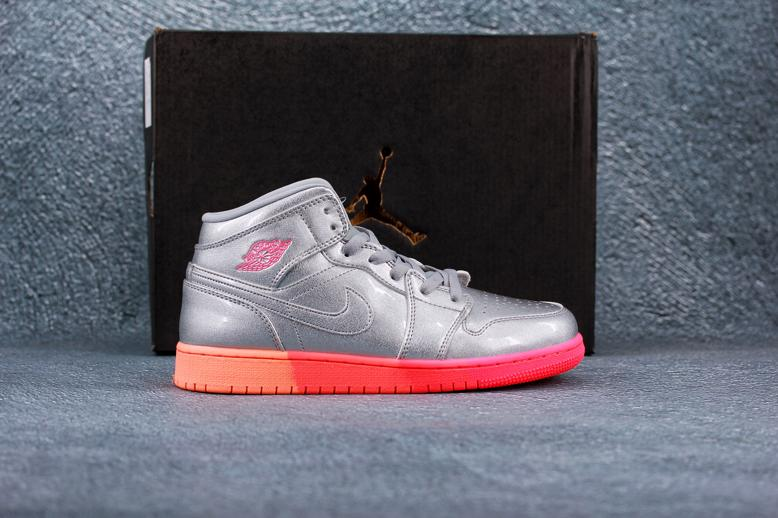 Air Jordan 1 Mid GS Metallic Silver Pink Crimson 9