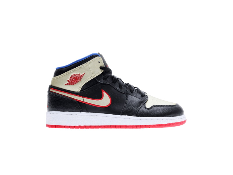 Air Jordan 1 Retro Mid GS Bred Metallic Gold