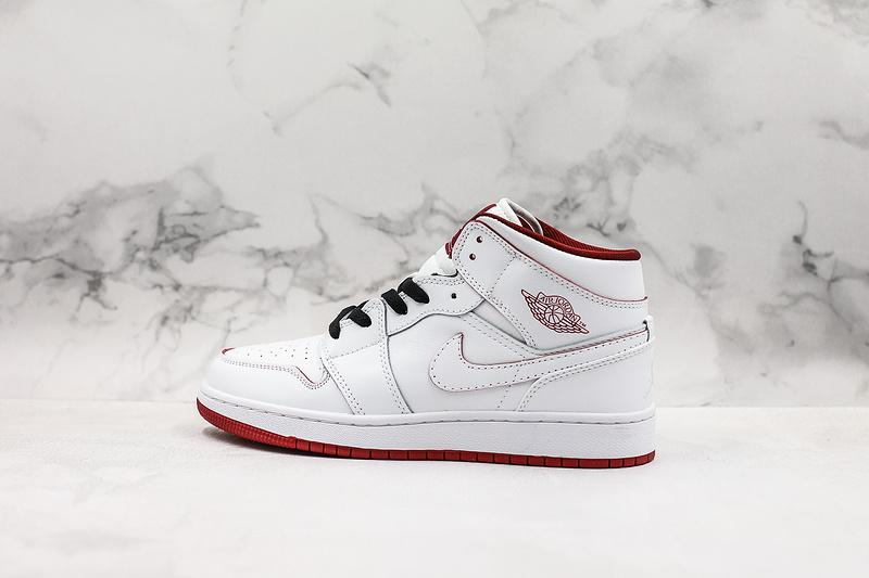 Air Jordan 1 Retro Mid GS White Gym Red 1