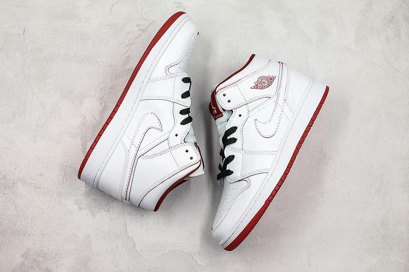Air Jordan 1 Retro Mid GS White Gym Red 9