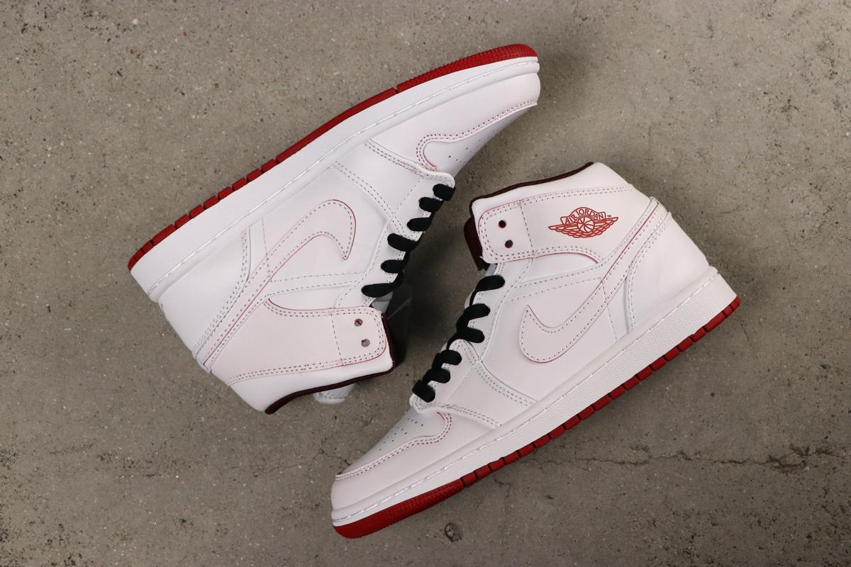 Air Jordan 1 Retro Mid White Gym Red 2