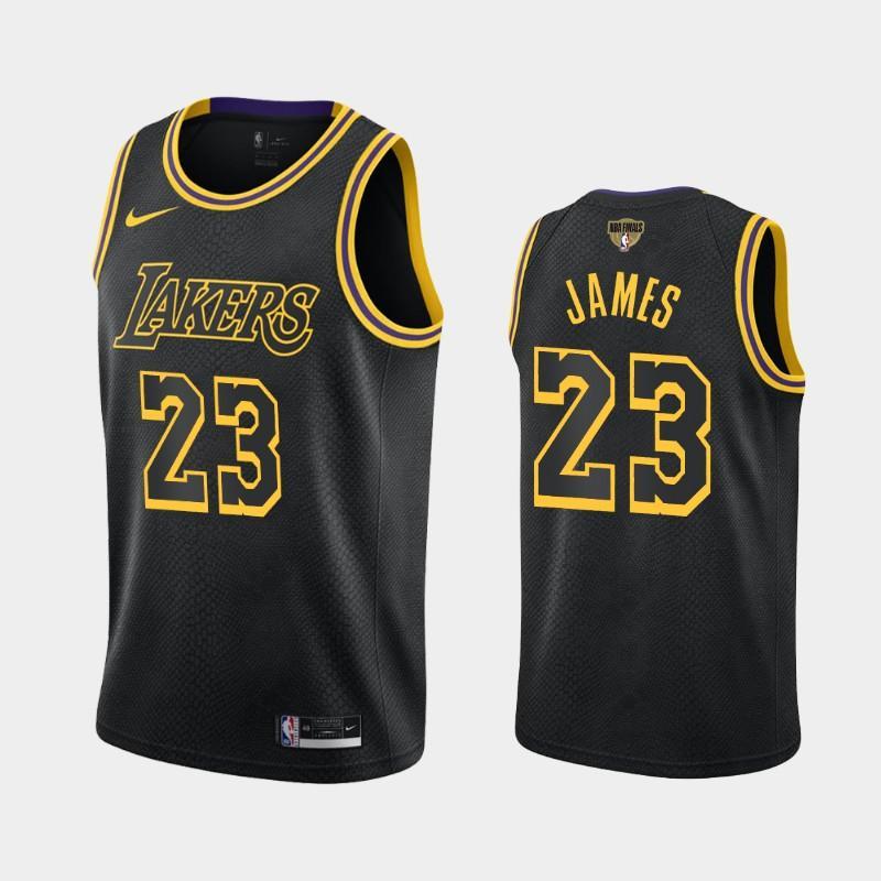 2020 NBA Finals Bound Lakers LeBron James 23 Black Kobe Tribute City Jersey