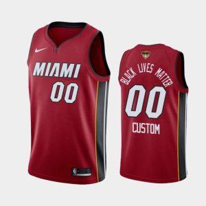 2020 NBA Finals Bound Miami Heat Custom 00 Red BLM Statement