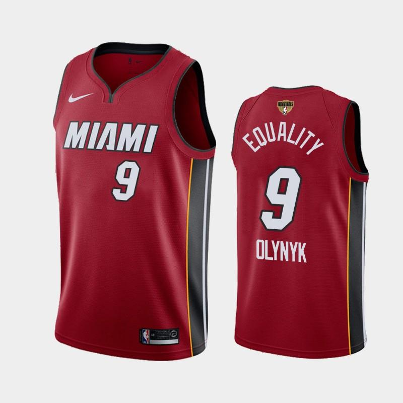 2020 NBA Finals Bound Miami Heat Kelly Olynyk 9 Red Equality Statement