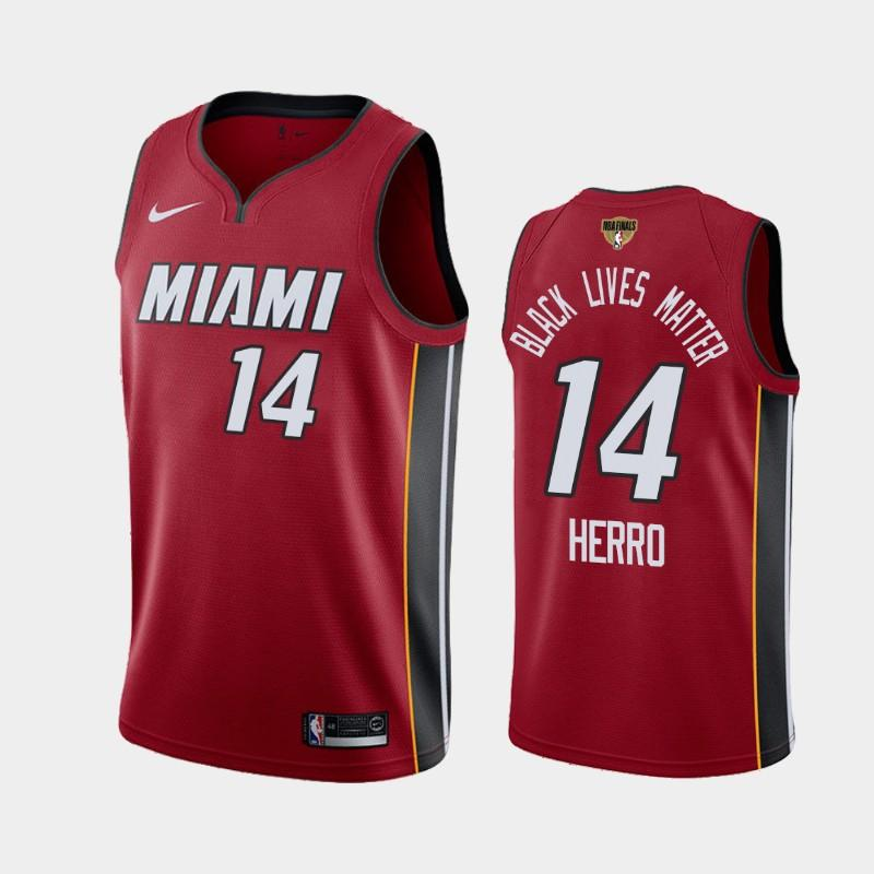 2020 NBA Finals Bound Miami Heat Tyler Herro 14 Red BLM Statement
