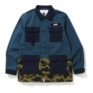 BAPE 1st Camo Military Shirt Navy