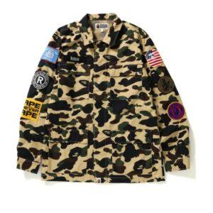 BAPE 1st Camo Multicolor Patch Military Shirt Shirt Yellow