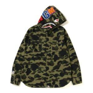 BAPE 1st Camo Shark Hoodie Zip Up Shirt Green