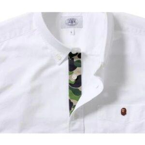BAPE Ape Head One Point Oxford Bd Shirt White 1