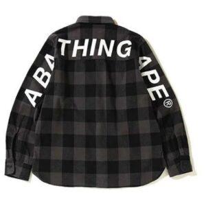 BAPE Block Check Big Logo Shirt Black