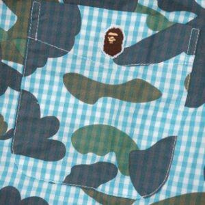 BAPE Camo Print Button Up Blue 1