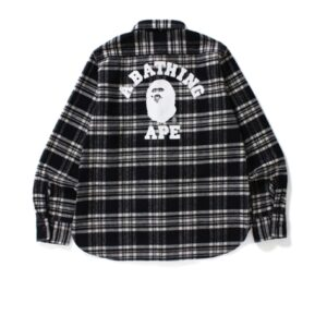 BAPE College Flannel Shirt Black 1