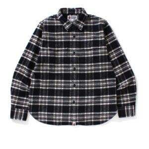 BAPE College Flannel Shirt Black