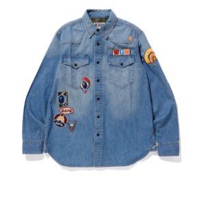 BAPE Crazy Patch Denim Shirt Indigo