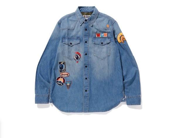 BAPE Crazy Patch Denim Shirt Indigo