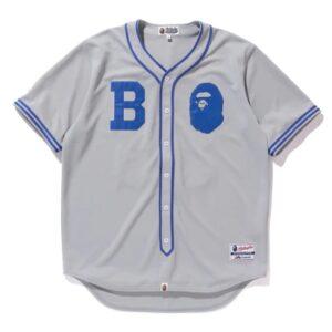 BAPE Majestic Baseball Shirt Shirt Gray