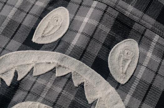 BAPE Shark Flannel Check Shirt Black 2