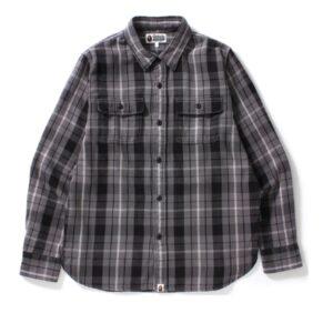 BAPE Shark Flannel Check Shirt Black