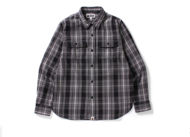 BAPE Shark Flannel Check Shirt Black
