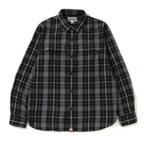 BAPE Shark Flannel Check Shirt FW18 Black