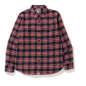 BAPE Shark Flannel Check Shirt FW19 Red
