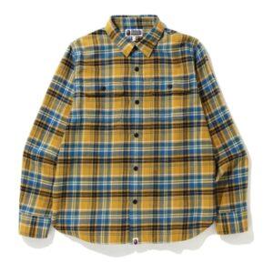 BAPE Shark Flannel Check Shirt FW19 Yellow