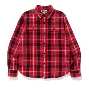 BAPE Shark Flannel Check Shirt Shirt Red